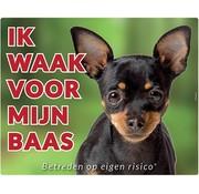 Stickerkoning Chihuahua Waakbord  Zwart - Ik waak voor mijn Baas