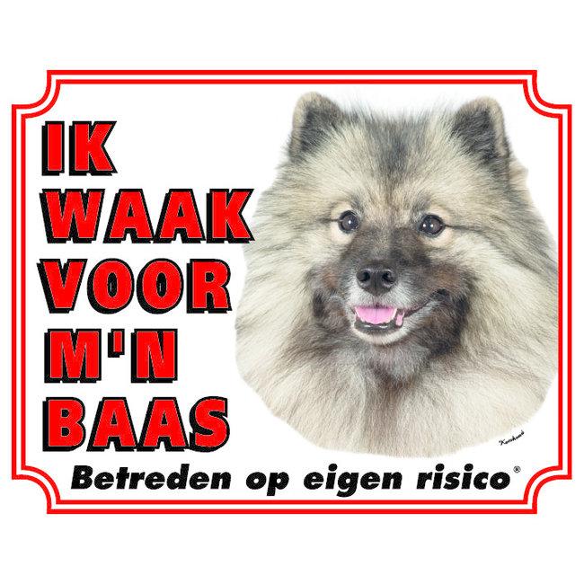 Stickerkoning Keeshond Waakbord - Ik waak voor mijn Baas Grijs