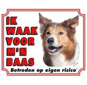 Stickerkoning Border Collie Waakbord - Ik waak voor mijn Baas
