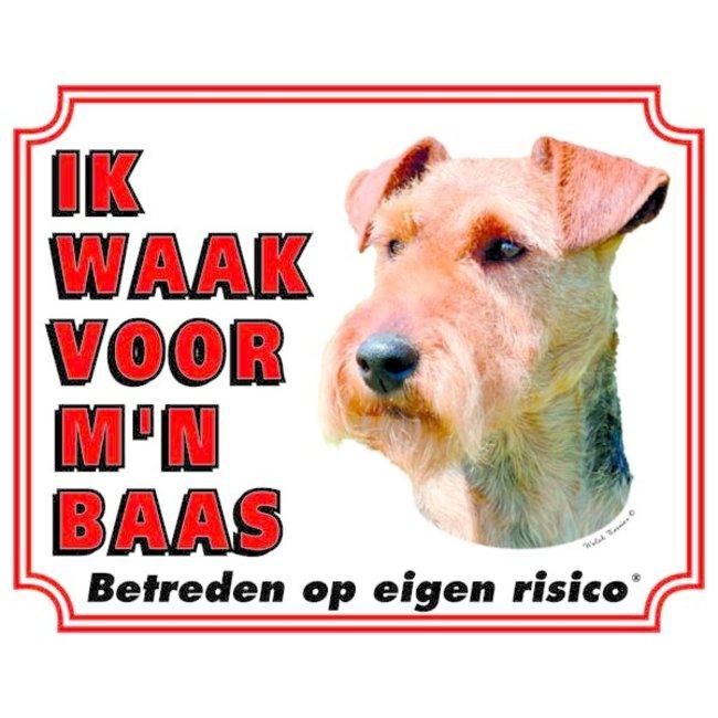 Stickerkoning Welsh Terrier Waakbord - Ik waak voor mijn Baas