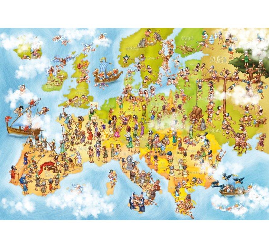 Cartoon Map of Europe Puzzel 1000 Stukjes