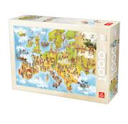 Deico Cartoon Map of Europe Puzzel 1000 Stukjes