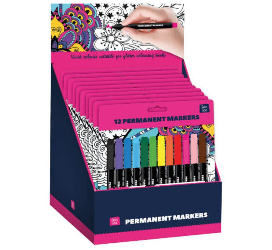 12 marqueurs permanents pour Glitter Kleurboek