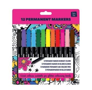 Inter-Stat 12 Permanent markers voor Glitterkleurboek