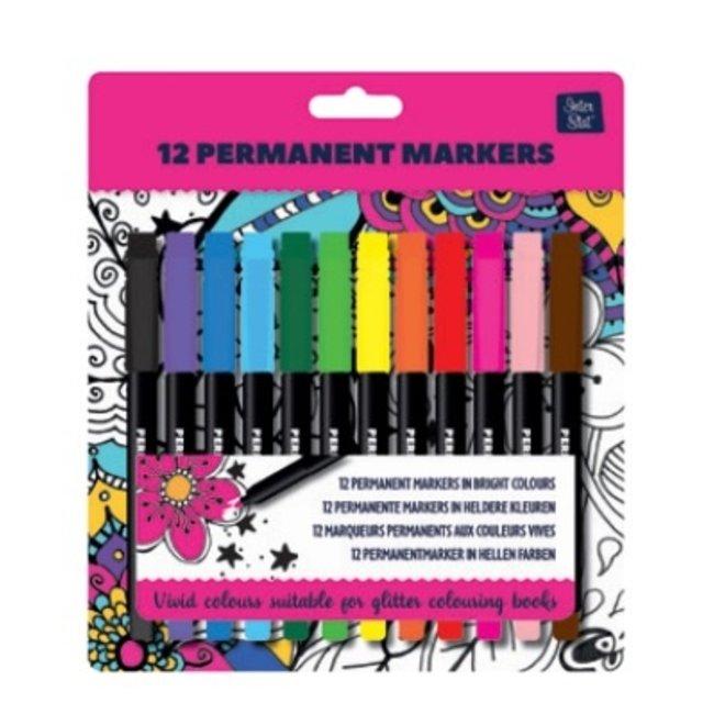 12 Permanent markers voor Glitterkleurboek