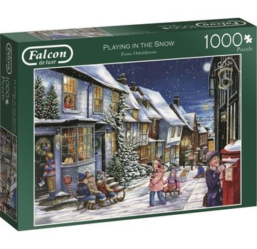 Falcon Playing in the Snow Puzzel 1000 Stukjes