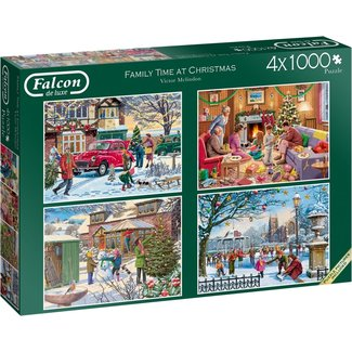 Falcon Family Time at Christmas Puzzel 4x 1000 Stukjes