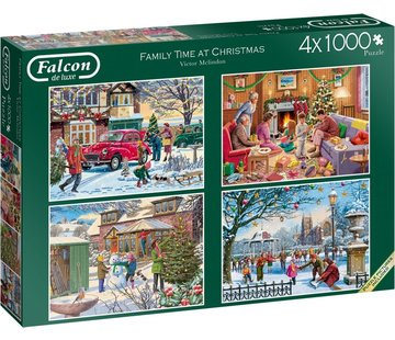 Falcon Family Time at Christmas Puzzel 4x 1000 Stukjes