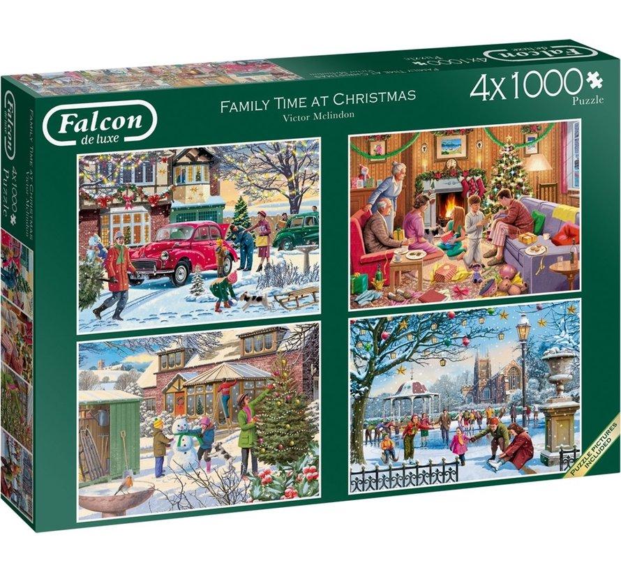 Family Time at Christmas Puzzel 4x 1000 Stukjes