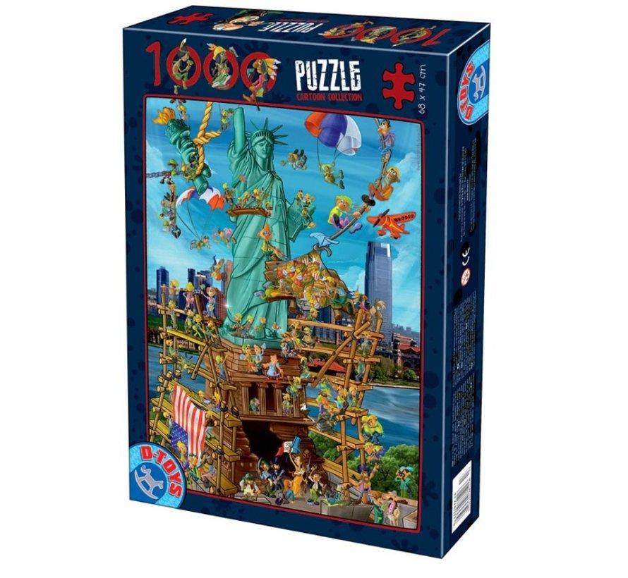 Cartoon New York Puzzel 1000 Stukjes