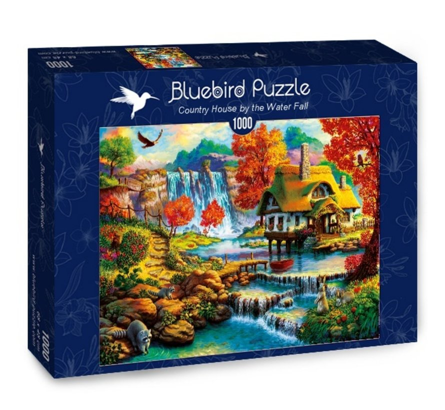 Country House by the Water Fall Puzzel 1000 Stukjes