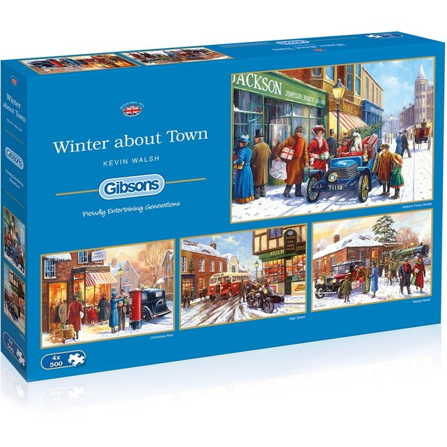 Gibsons Winter about Town Puzzel 4 x 500 Stukjes