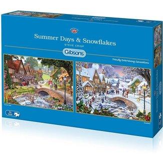 Gibsons Summer Days & Schneeflocken 2x 500 Puzzle Pieces