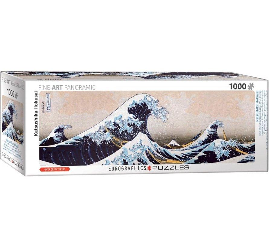 Great Wave of Kanagawa - Hokusai Panorama Puzzel 1000 Stukjes