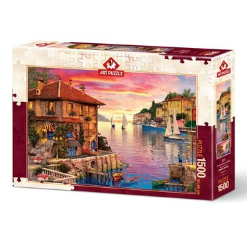 Art Puzzle Mediterranean Harbour Puzzel 1500 Stukjes