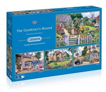 Gibsons The Gardener's Round Puzzel 4x 500 Stukjes