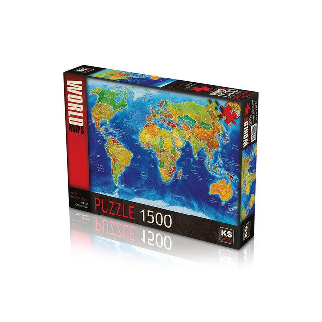 KS Games World Political Map Puzzel 1500 Stukjes