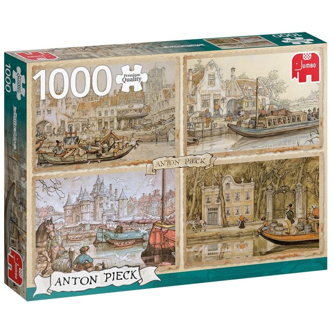 Anton Pieck Boten in de Gracht Puzzel 1000 Stukjes