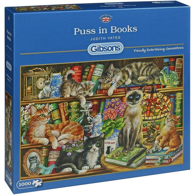 Gibsons Puss in Bücher 1000 Puzzle Pieces