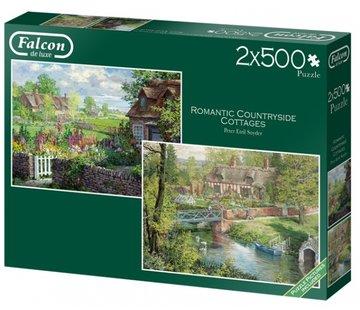 Falcon Romantic Countryside Cottages  Puzzel 2x 500 Stukjes