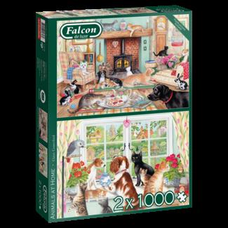 Falcon Animals At Home Puzzel 2x 1000 Stukjes