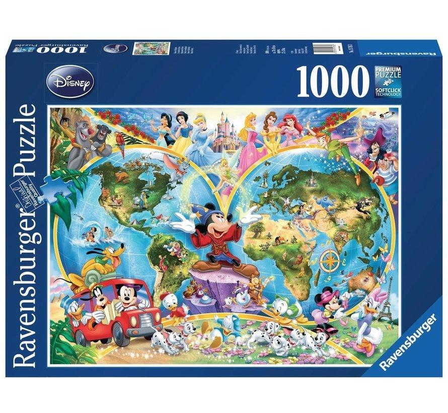 Disney's Wereldkaart Puzzel 1000 Stukjes