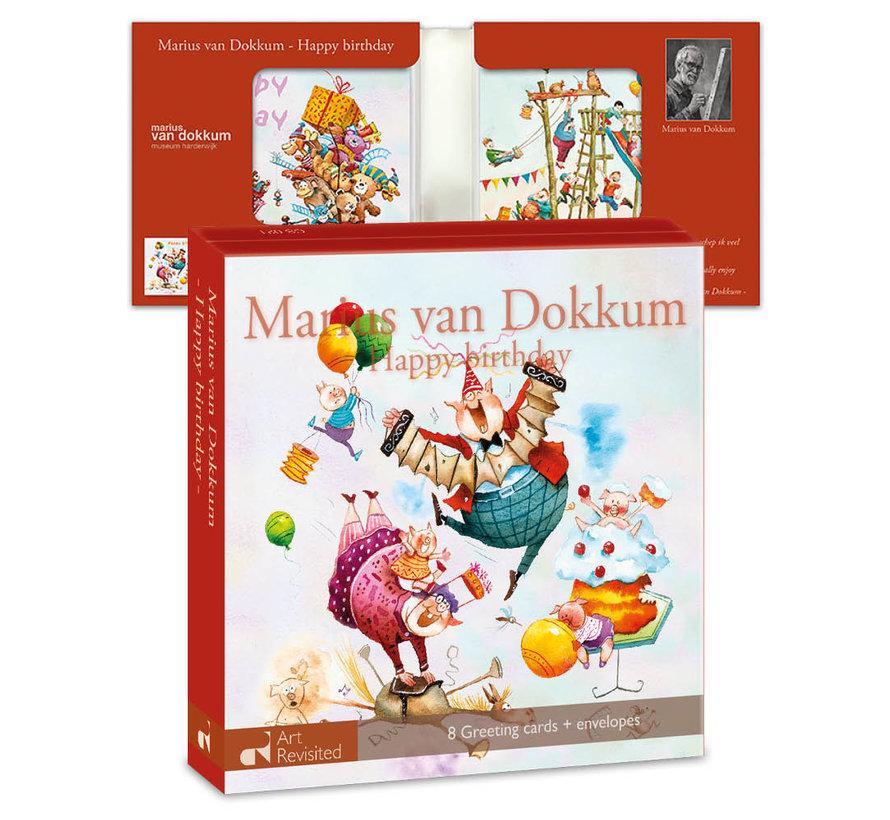 Kaartenmapje Marius van Dokkum – Happy birthday 8 Stuks