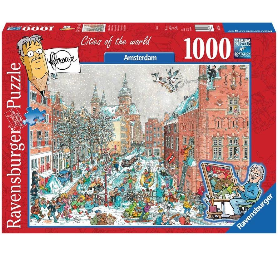 Amsterdam in Winter - Fleroux Puzzel 1000 Stukjes