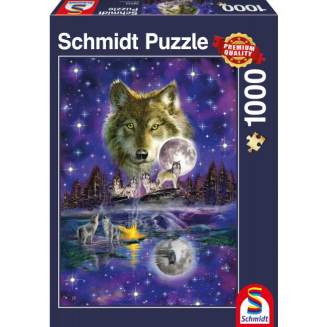 Schmidt Puzzle Wolf in het Maanlicht Puzzel 1000 Stukjes