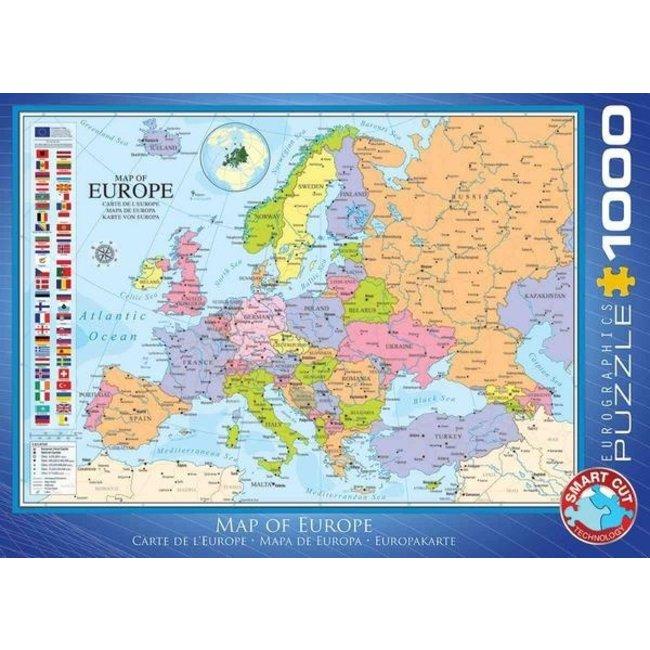 Eurographics Map of Europe Puzzel 1000 Stukjes