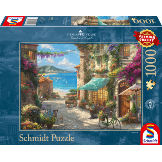 Schmidt Puzzle Café aan de Italiaanse Rivièra Puzzel 1000 Stukjes