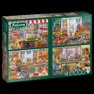 Falcon Your Favourite Shops Puzzel 4x 1000 Stukjes