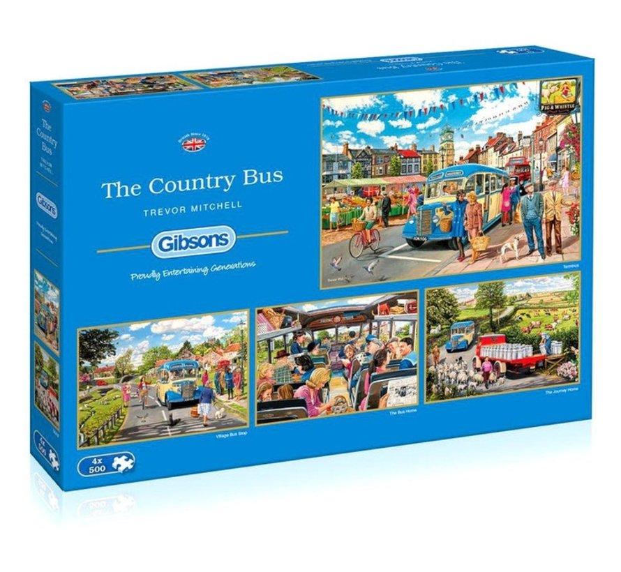 The Country Bus Puzzel 4x 500 Stukjes