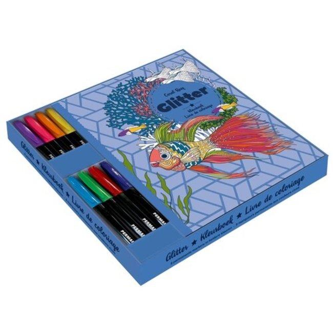 Cadeaubox Glitterkleurboek met Markers Coral