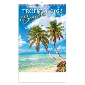 Helma Wall Calendar 2022 Tropical Beaches 31.5 x 45 cm