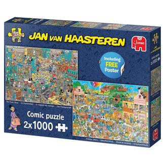 Jumbo Jan van Haasteren – Muziekwinkel en Vakantiekriebels Puzzel 2x 1000 Stukjes