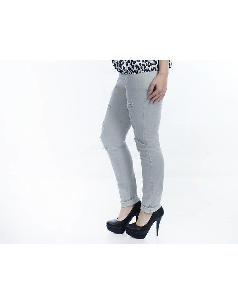 Jeans grijs met destroyed details