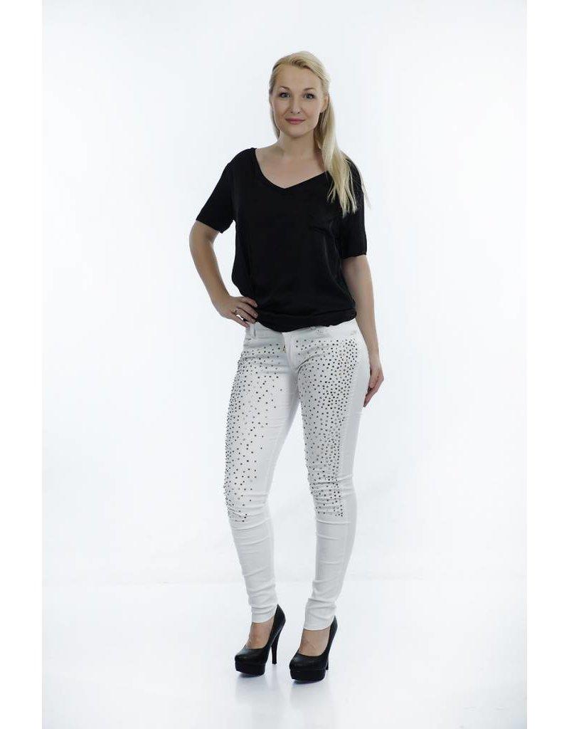 Jeans wit met steentjes
