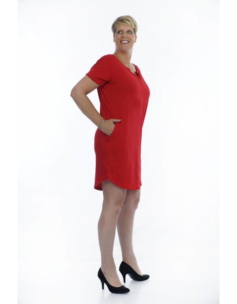 Rode tuniek / jurk met V-hals