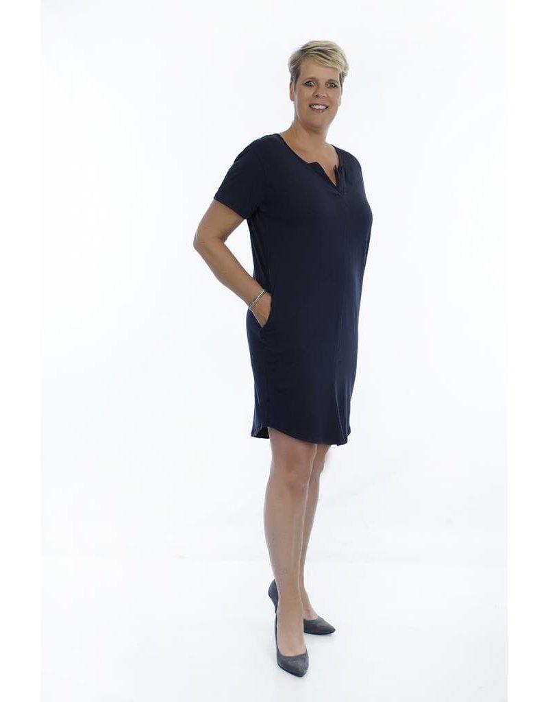 Donkerblauwe tuniek / jurk met V-hals