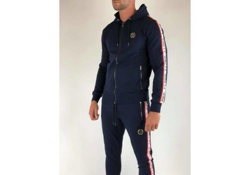 GEORGE V GEORGE WHITE/RED LINED JOGGER - DONKER BLAUW