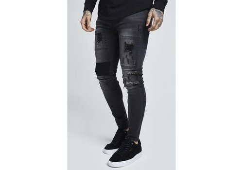 SIKSILK SIKSILK DROP CROTCH PATCH DENIMS - WASHED BLACK (SS-13401)