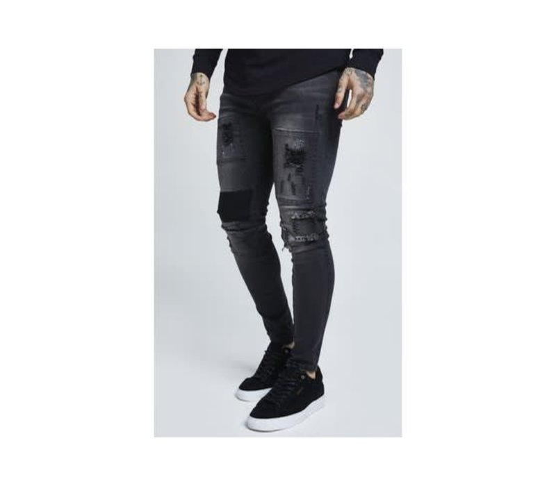 SIKSILK DROP CROTCH PATCH DENIMS - WASHED BLACK (SS-13401)