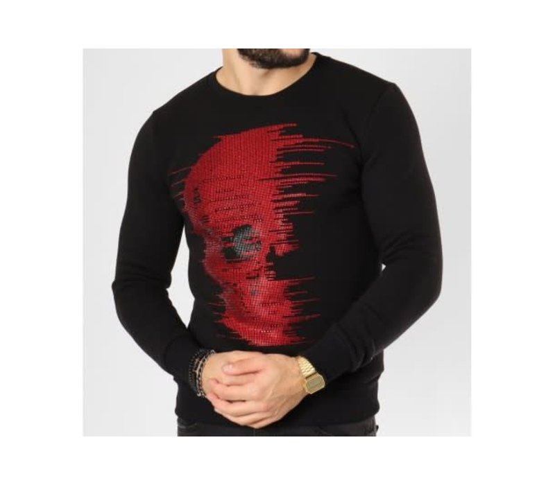 UNIPLAY DIAMOND SKULL SWEATER - ZWART/ROOD (ZS006)