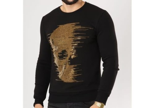 UNIPLAY UNIPLAY DIAMOND SKULL SWEATER - ZWART/GOUD (ZS006)