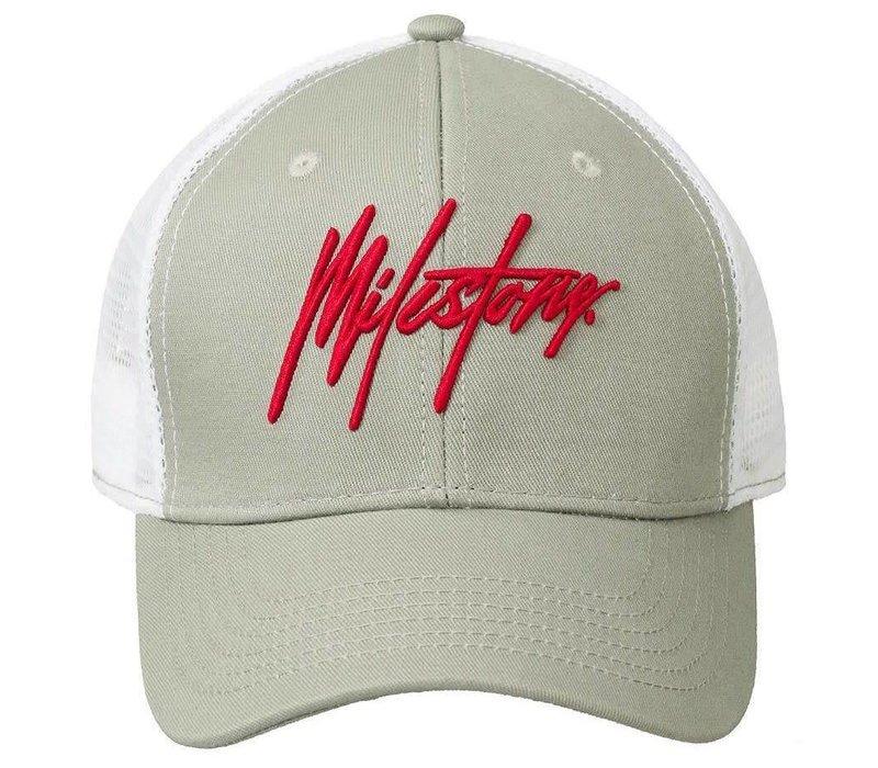 MILESTONE SIGNATURE TRUCKER PET - GRIJS/WIT