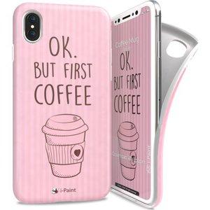 i-Paint soft case Coffee mug - roze - voor iPhone X