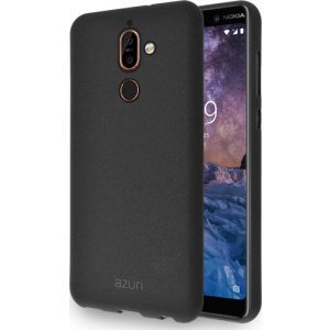 Azuri flexibele cover met zand textuur - zwart - voor Nokia 7 plus