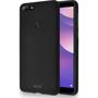 Azuri flexible cover met zandtextuur - zwart - for Huawei Y7 (2018)