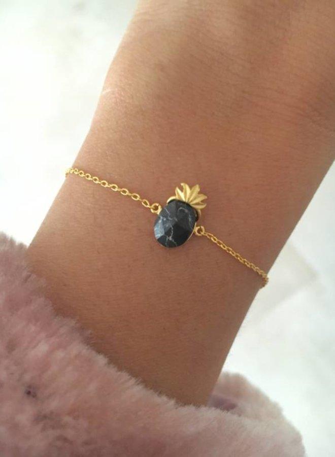 Armband Black Marble Pineapple